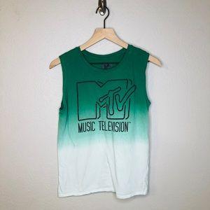 MTV Logo Dip Dye Ombré Muscle Tank Top